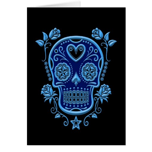 Blue Sugar Skull with Roses on Black Greeting Cards