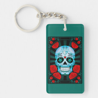 Blue Sugar Skull with Roses Poster Keychains