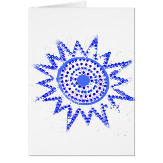 Blue Sun in Lights Grunge Cutout Card