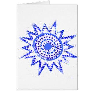 Blue Sun in Lights Grunge Cutout Greeting Card
