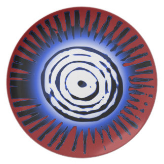 Blue Sun On Red Plate