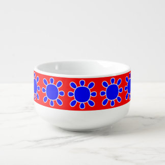 Blue sun on red soup bowl