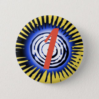 Blue Sun With Red Personalised Letter Or Number 6 Cm Round Badge