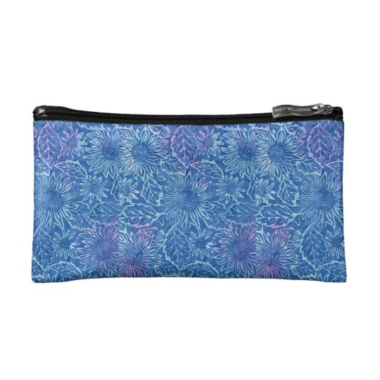 Blue Sunflower Cosmetic Bag