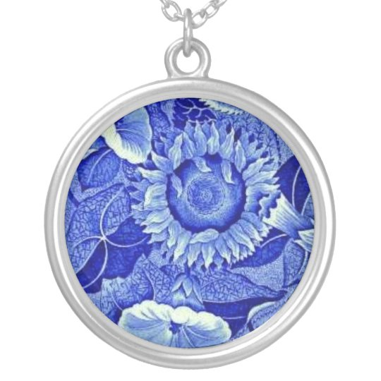 Blue Sunflower Vintage Costume Jewellery Charm Silver Plated Necklace