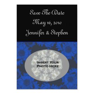 Blue Sunflowers Photo Wedding Save The Date 13 Cm X 18 Cm Invitation Card