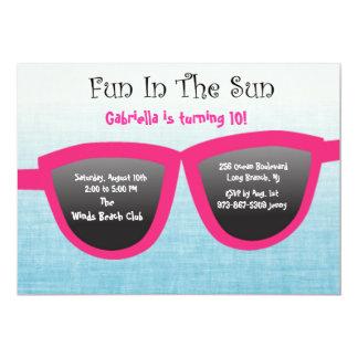 Blue SunGlasses Birthday Party Invitation