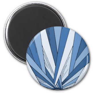Blue Sunrise Art Deco Design Refrigerator Magnets