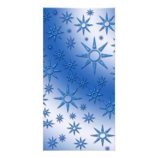 Blue suns seamless pattern photo card template