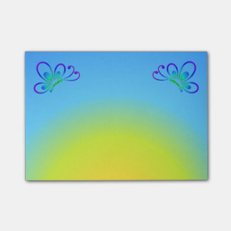 Blue Sunset and Cool Butterfly Profiles Post-it Notes