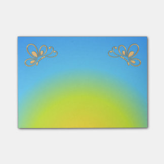 Blue Sunset and Gold Butterfly Profile Post-it Notes