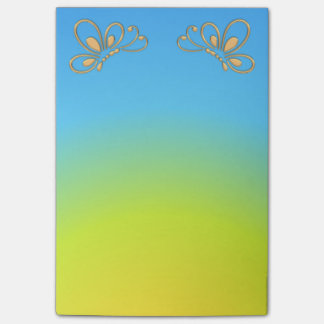 Blue Sunset and Gold Butterfly Profiles Post-it Notes