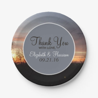 Blue Sunset Sky Wedding 7 Inch Paper Plate