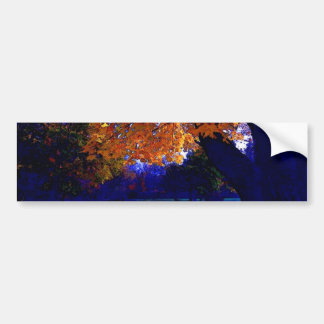 Blue Sunset Trees Bumper Sticker