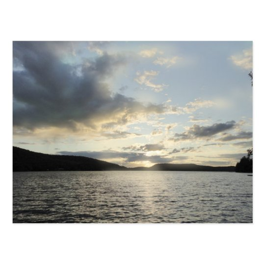 Blue sunsets depict Lake Sunapee, New Hampshire Postcard