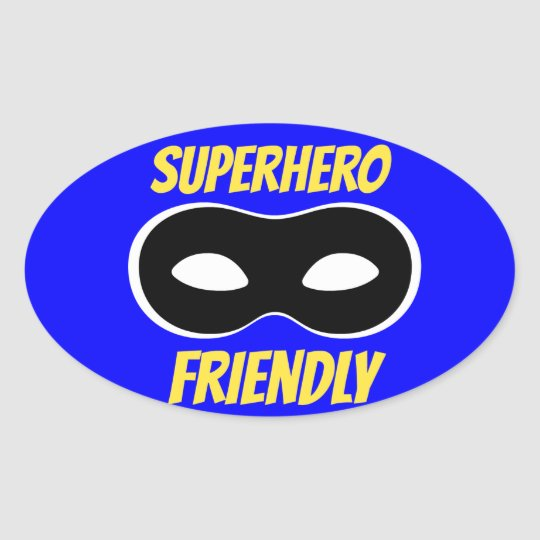 Blue Superhero Friendly Sticker