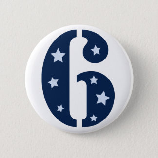 Blue Superstar 6 Birthday Button