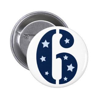 Blue Superstar 6 Birthday Button