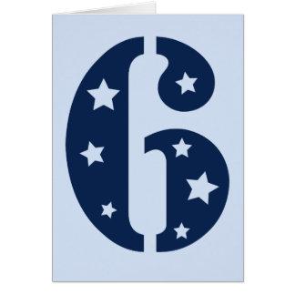 Blue Superstar 6 Birthday Card Greeting Card