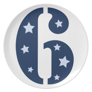 Blue Superstar 6 Birthday Plate