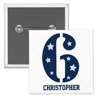 Blue Superstar 6 Personalised Button