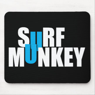 Blue - Surf Munkey stacked lettering design Mouse Pad