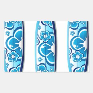 Blue Surfboard Design Rectangular Sticker