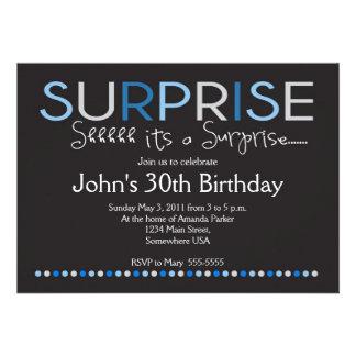 Blue Surprise Birthday Invitation