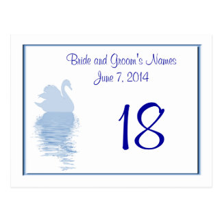 Blue Swan Table Number Card