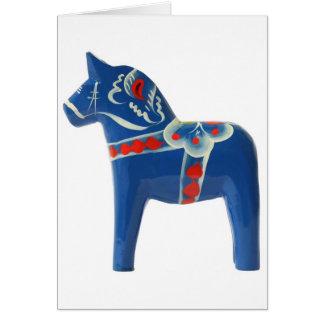 Blue Swedish Dala Horse Cards