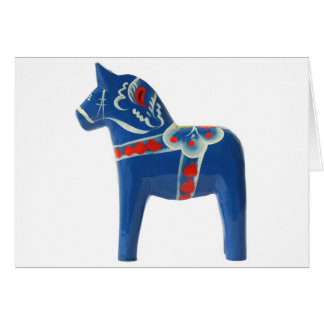 Blue Swedish Dala Horse Card