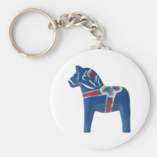 Blue Swedish Dala Horse Key Ring