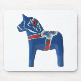 Blue Swedish Dala Horse Mouse Mat