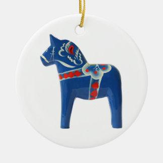 Blue Swedish Dala Horse Round Ceramic Decoration