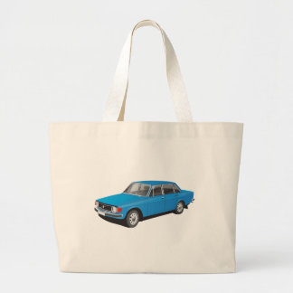 Blue Swedish family car from 1973 Large Tote Bag
