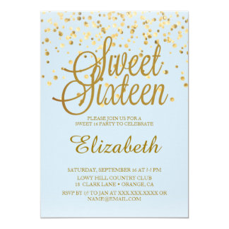 BLUE Sweet 16 Invitations
