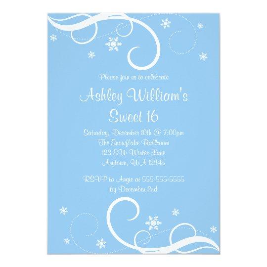 Blue Sweet 16 Winter Wonderland Swirl Snowflakes Card
