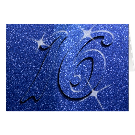 Blue Sweet Sixteen Birthday Party Card