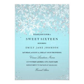 Blue Sweet Sixteen Winter Wonderland Snowflakes Card