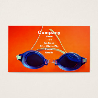 Blue Swimming Goggles on Orange Business Card