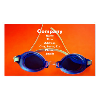 Blue Swimming Goggles on Orange Pack Of Standard Business Cards