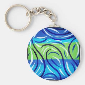 Blue Swirl Basic Round Button Key Ring