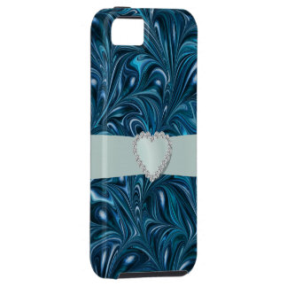 Blue Swirl Bling - SRF iPhone 5 Case