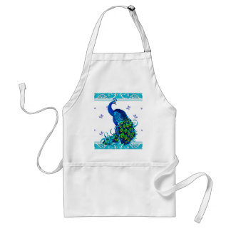 Blue swirl Border and Peacock Design Standard Apron