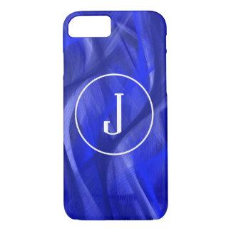Blue swirl iPhone monogram case