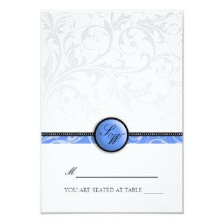 Blue Swirl Monogram Folding Tent  Place Card 9 Cm X 13 Cm Invitation Card