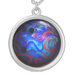 Blue Swirl Pattern Bowling Ball. Necklaces