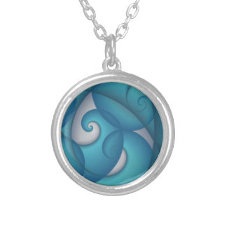 Blue Swirl Pattern Silver Plated Necklace