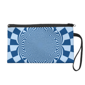 Blue Swirl Retro Funky Painting Abstract Art Wristlet Clutch