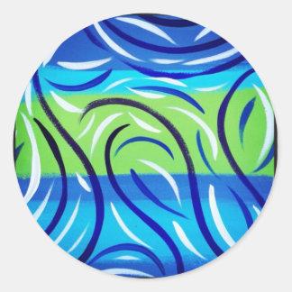 Blue Swirl Round Sticker